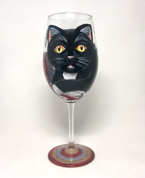 Cat Wine Glass Hand Painted Black And White Kitty With Red Etsy