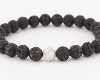 Essential oil bracelet, diffuser bracelet, lava bead bracelet, oil diffuser, yoga bracelet, white howlite, essential oils, stretch bracelet