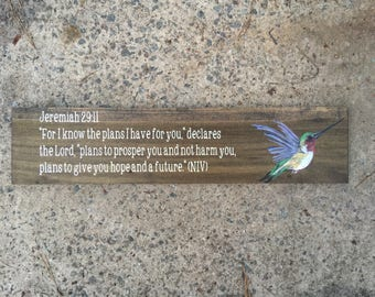 Hummingbird Sign, Bible Quote Sign, Religious Sign, Religious Quote Sign, Religious Wood Sign, Biblical Quotes, Handpainted Wood Sign