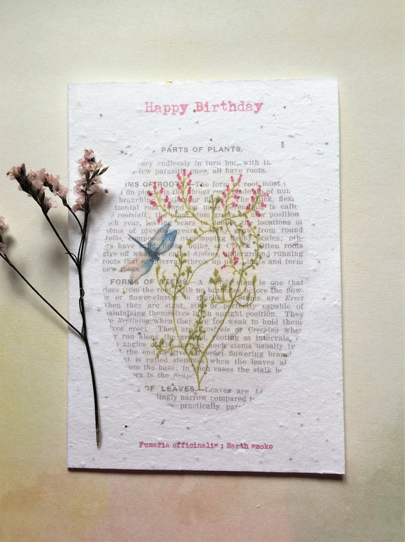 Seed Paper Birthday Card Blank Inside Flower Watercolour