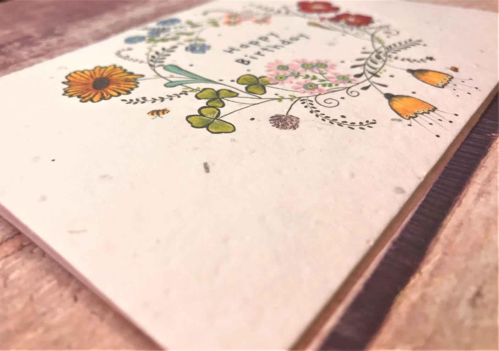 plantable seed paper birthday card blank inside flower  etsy