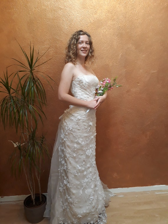 Vintage wedding dress, floral wedding dress, strap