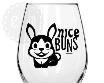Nice Buns 21 oz. stemless wine glass