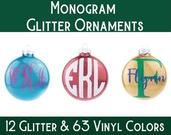 Monogram Ornament / Personalized Ornament / Glitter Ornament / Christmas Ornament / Custom Ornament / Christmas Gift  / Unique Gift /