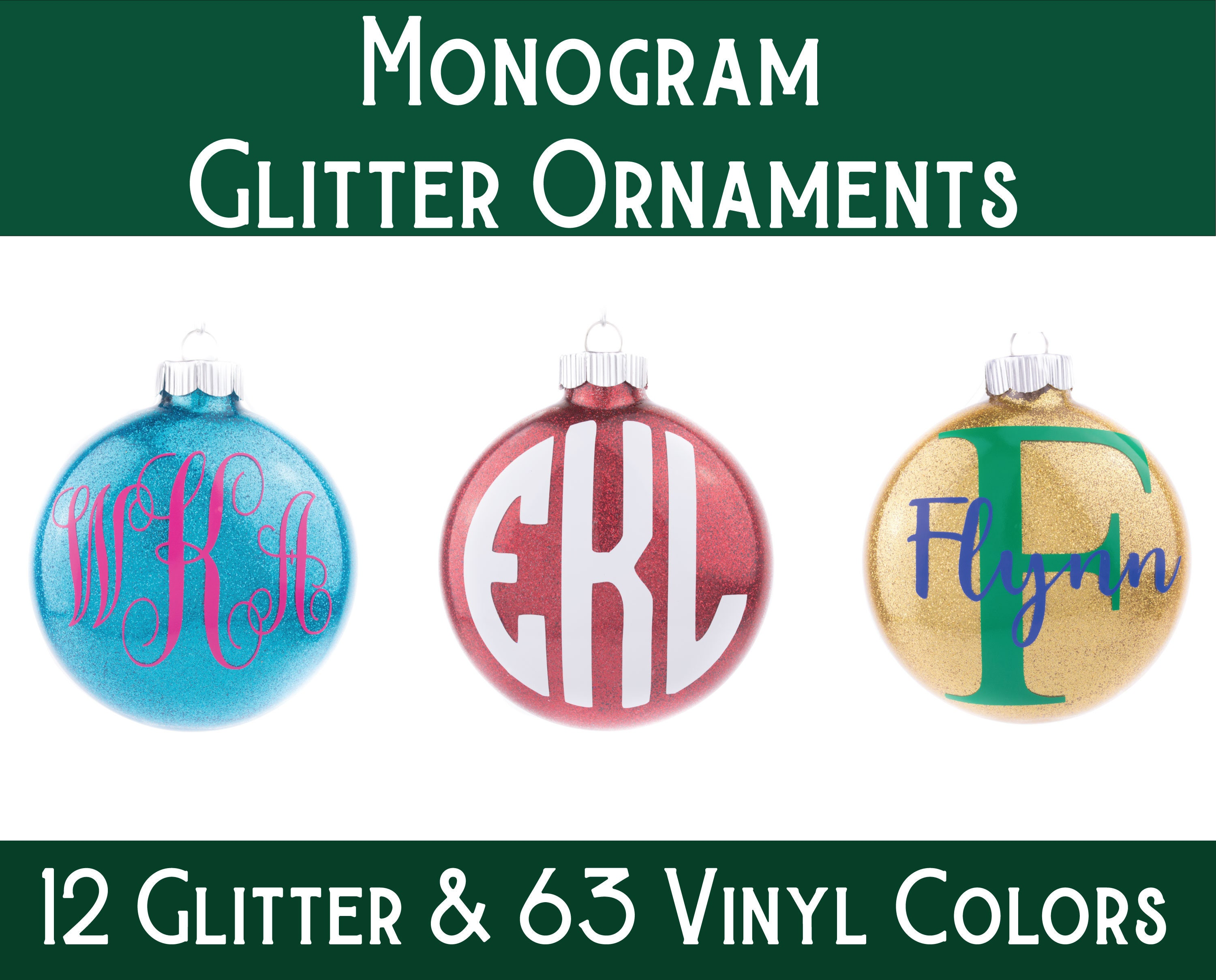 Monogram Ornament Personalized Ornament Glitter Ornament