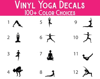 Yoga Pose Vinyl Decals - Premium Waterproof Vinyl Decal for tumblers, water bottles, car windows, laptops, mailboxes, storage totes and more