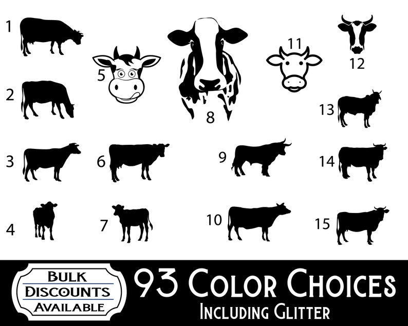 Cow Decals Vinyl Cow Decal Cow Silhouette Cow Yeti Decal Etsy