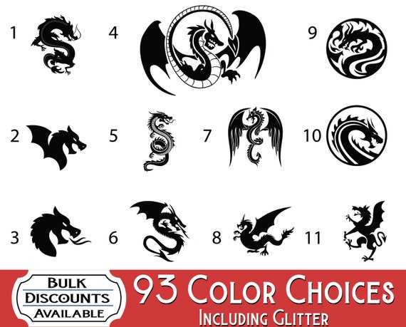 STICKER ~ 7 COLORS CHOICES DRAGON ~ VINYL GRAPHIC CAR DECAL