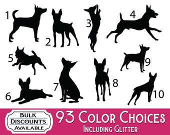Toy Fox Terrier Silhouette Dog Decals - Dog Sticker for cars, laptops, dog bowls, containers, tumblers or any hard smooth surface