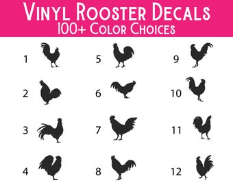 Rooster Vinyl Decal - Premium Waterproof Vinyl Decal for tumblers, water bottles, car windows, laptops, mailboxes, storage totes and more!