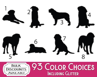 Saint Bernard Silhouette Dog Decals - Dog Sticker for cars, laptops, dog bowls, containers, tumblers or any hard smooth surface