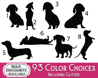 Dachshund Silhouette Dog Decals - Dog Sticker for cars, laptops, dog bowls, containers, tumblers or any hard smooth surface