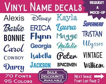 Name Decals / Custom Name Decals / Vinyl Name Decals / Custom Decals / Yeti Name Decals / Wedding Decals / Name Stickers / Yeti Sticker