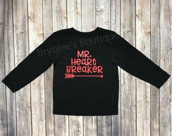 Mr. Heartbreaker-Toddler Valentine Shirt-Boys Valentine Shirt-Valentines Shirt