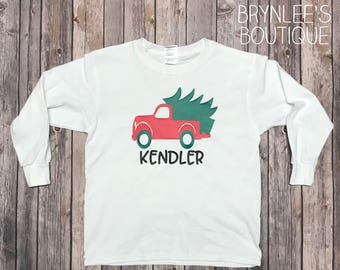 Personalized Shirt-Red Truck Shirt-Kids Christmas Shirt-Boy Christmas Shirt-Girls Christmas Shirt-Holiday Shirt-Toddler Christmas Shirt