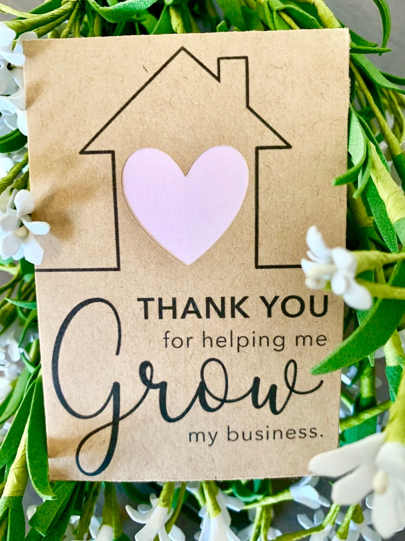 Flower Seed Favors Thank You Gift Promotional Business Cards Flower Seed Packets  Pop By Gifts for Real Estate Agents