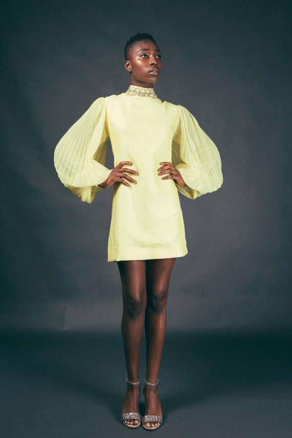 60s Yellow Accordian Sleeve Canary Mod Mini Dress - image 3