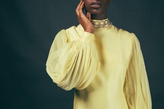 60s Yellow Accordian Sleeve Canary Mod Mini Dress - image 5
