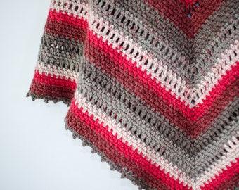 Crochet Shawl - Red Velvet, Adult Size