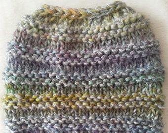 Messy Bun Hat Hand Knit