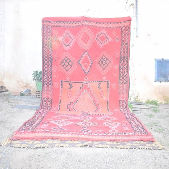 SAFAVIEN Moroccan Handmade Rug Vintage Red Rug Antique