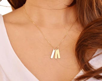 Family initial necklace name - Multiple Vertical GOLD bar necklace, Dainty Short Layering Necklace, Birthday gift for her, gift for mom