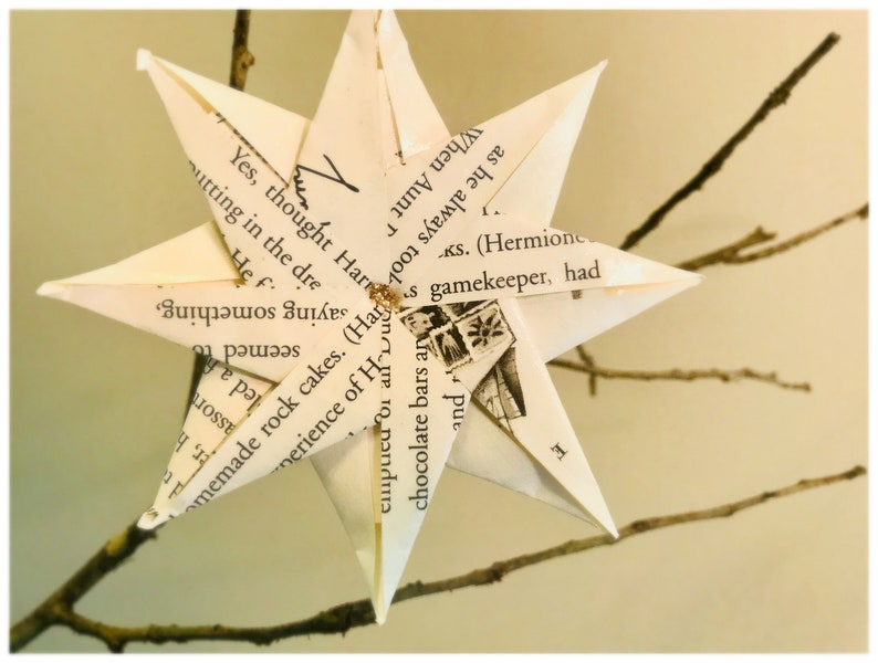 Set of 3 Harry Potter Origami Christmas Ornaments 8-pointed Star Hogwarts House Book Gift Recycled Origami HP Goblet of Fire