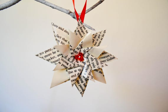 Lord Of The Rings Christmas Ornaments.Lotr Christmas Ornaments Set Of 3 8 Pointed Flower Made From Lord Of The Rings Recycled Origami Geek Ornament Geek Gift