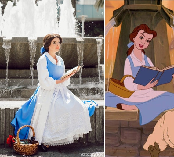 Adult Blue Peasant Dress Costume Cosplay inspired by Belle Beauty and the Beast