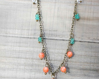 Orange and Green Sari Necklace - Crystal Beads on a Brass Necklace
