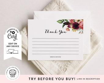 editable thank you card template printable wedding thank you etsy