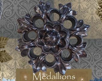 """One """"Snowburst"""" Curtain Medallion ~SINGLE ITEM~ Hold back,Drapery Tabpost,Rosette"""