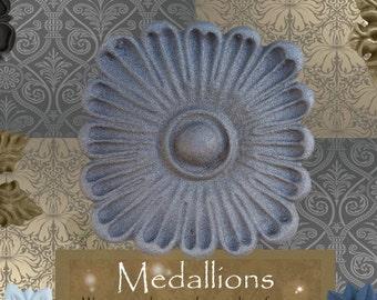 "One ""Zinnia"" Curtain Medallion ~SINGLE ITEM~ Hold back,Drapery Tabpost,Rosette"