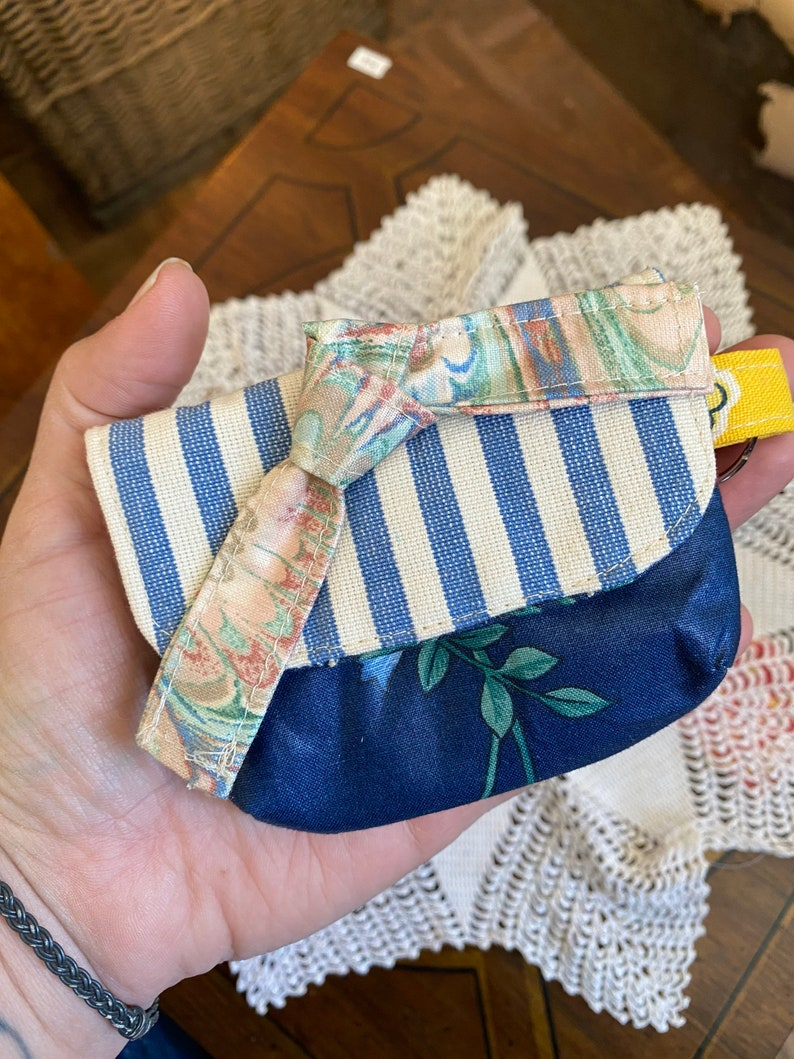 Chubby Dust Bunny Recycled Vintage Fabric Mask Clip on Wallet.