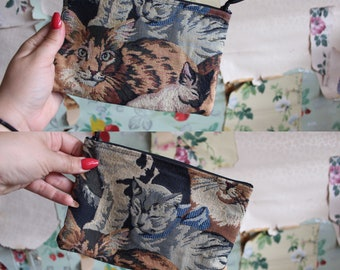 Vintage Cat Tapestry Zipper Pouch. Kitty Meow. Calico, tabby.