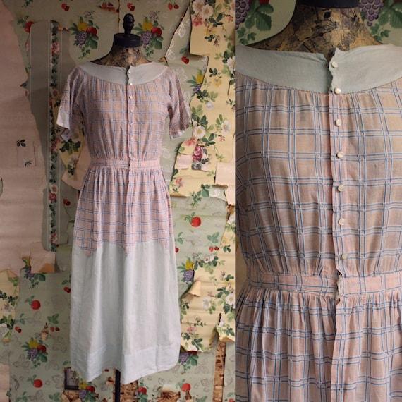 1930s 1940s Sheer Pastel Cotton Plaid Shirtwaist F