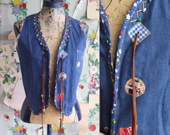 Vintage 1970s Denim Patchwork Vest. 14R. Kids. Beads, leather, tassels. Adult XS.