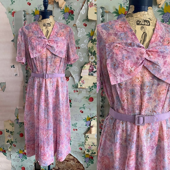 Vintage 1940s Sheer Nelly Don Pastel Floral with B
