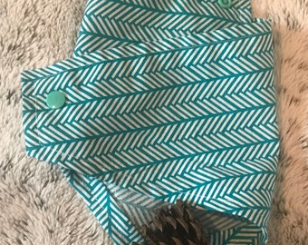 Dog Bandana - Teal and White Chevron
