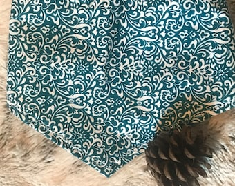 Dog Bandana - Teal and white Demask