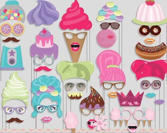 Sweet Shoppe Photo Booth Props for Candy Sweet Party
