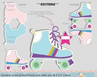 Editable Roller Skates invitations for Skating Party