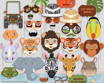Safari Jungle Zoo Animals Photo Booth Props for Safari Party 5f9dd71e0f55