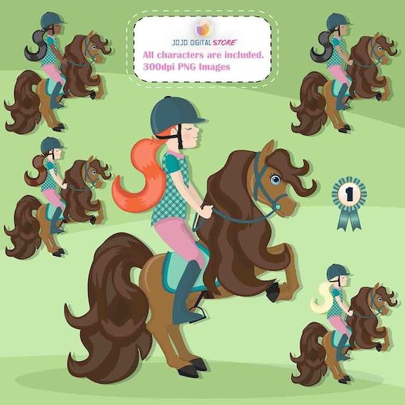 Partie équestre différente peau couleur équestre cheval équitation Clipart, graphisme,