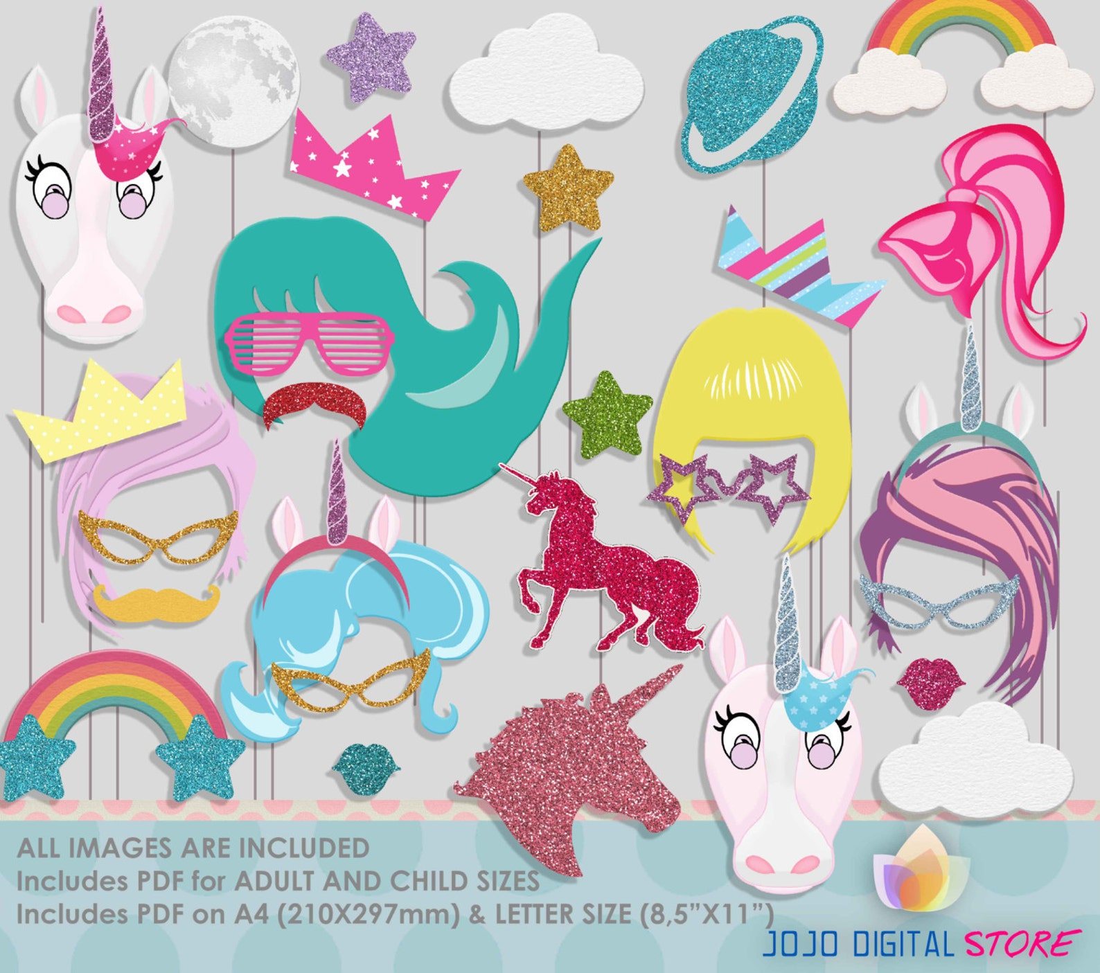 Printable Unicorn Photo Booth Props