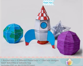 EDITABLE Rocket, Planets, Star Favor Box Set, Space favor box set