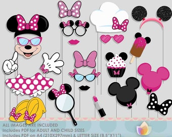SALE!! Limited Time! HotPink Mouse Party Photo Booth Props for girly mouse party!