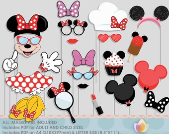SALE!! Limited Time! Red Mouse Party Photo Booth Props for girly mouse party!