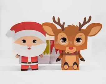 Santa Claus & Rudolf Christmas Favor Box Set for Christmas Party