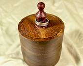 Walnut Lidded Pot Travelers Jewelry Box Perfect Gift To Stash Trinkets, Coins, Jewelry
